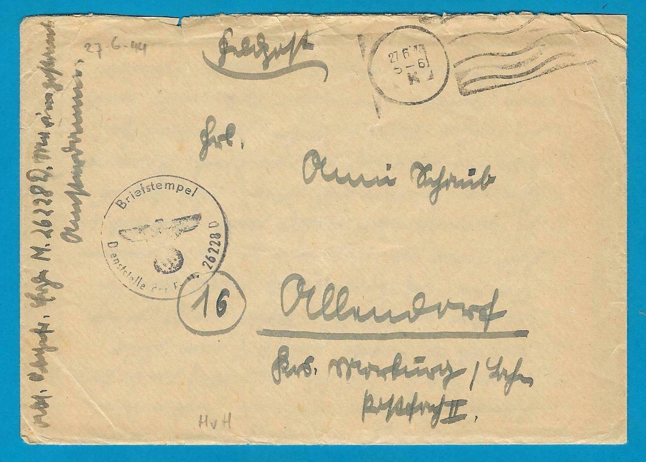NEDERLAND veldpostbrief 1944 Hoek van Holland met inhoud