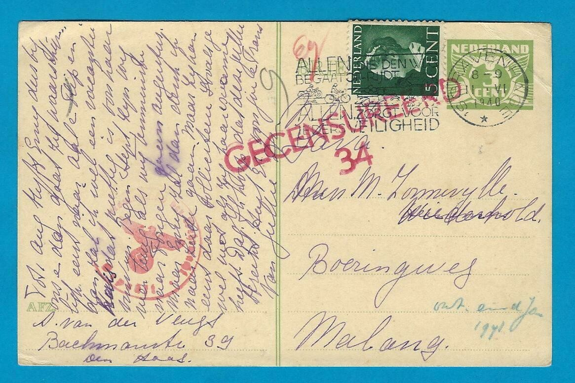 NEDERLAND briefkaart 11-VI-1940 's Gravenhage naar Indië