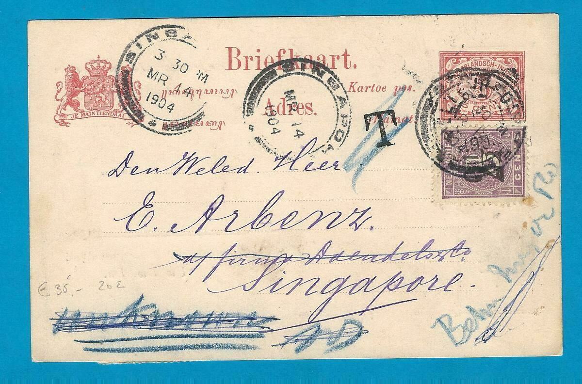 NETHERLANDS EAST INDIES private postal card 1904 Batavia -Singapore