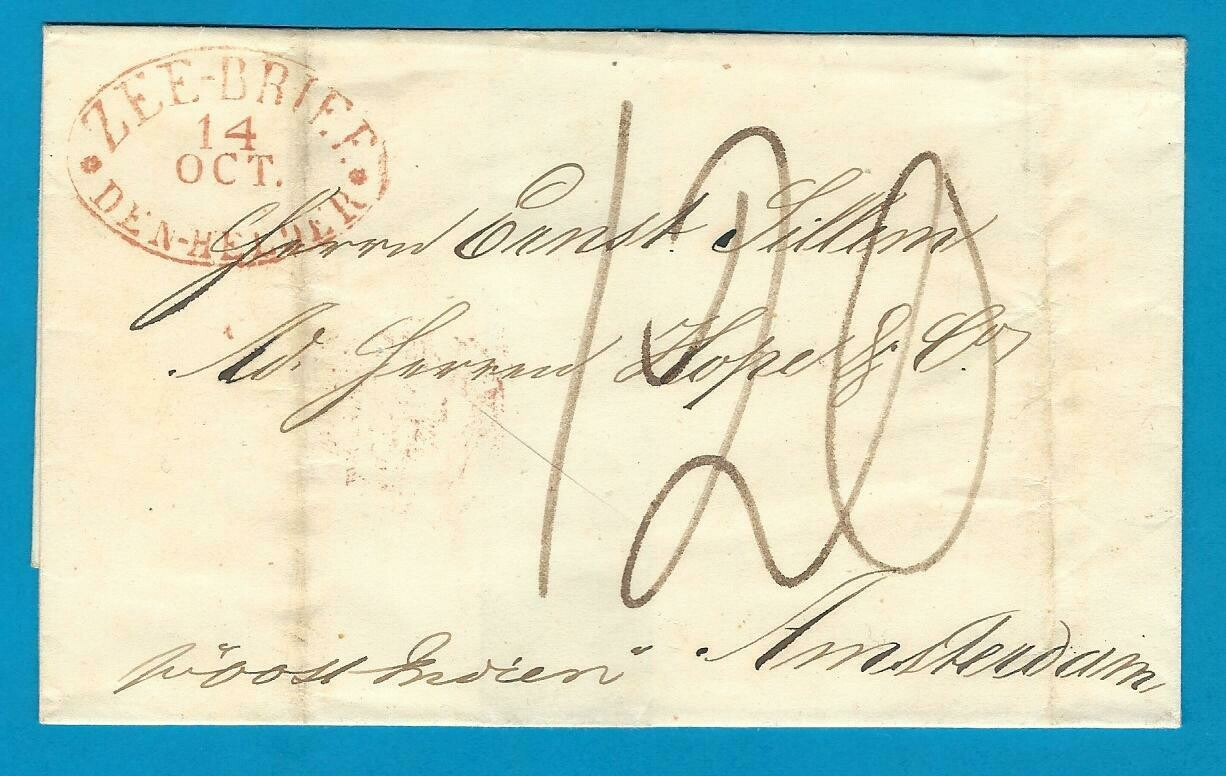 NETHERLANDS EAST INDIES seamail 1840 Samarang to Amsterdam