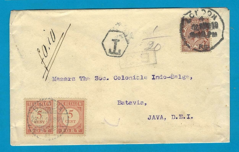 ENGLAND cover 1919 London with postage due Batavia