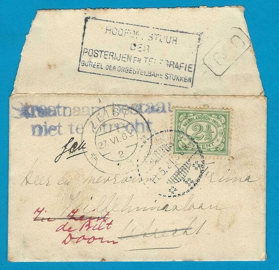NETHERLANDS EAST INDIES printed matter 1921 to Utrecht forwarded
