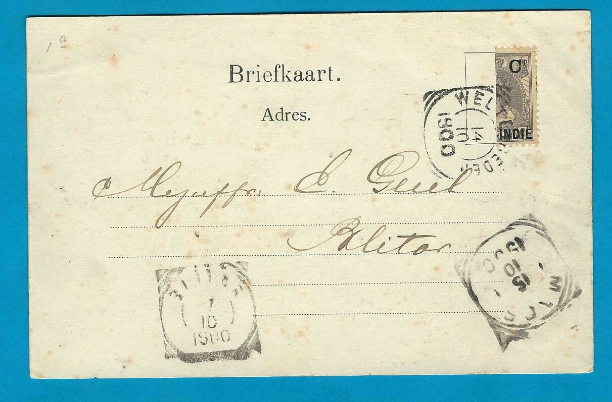 NETHERLANDS EAST INDIES PPC Boer war 1900 with bisect