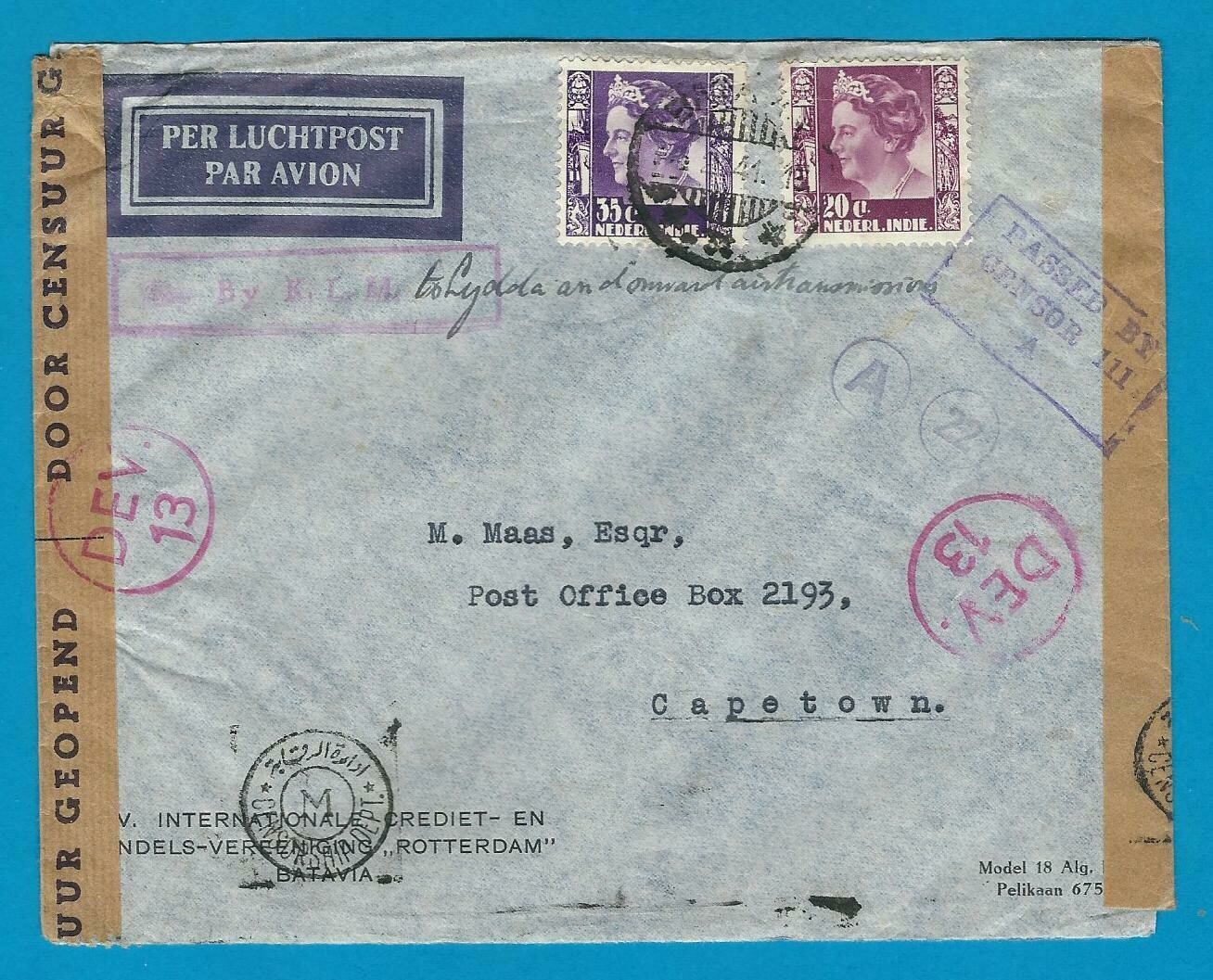 NETHERLANDS EAST INDIES censor air cover 1941 to South Africa