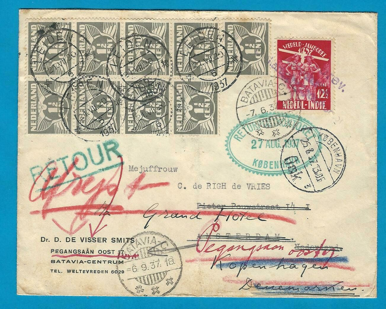 NETHERLANDS EAST INDIES cover 1937 to Amsterdam - Denmark