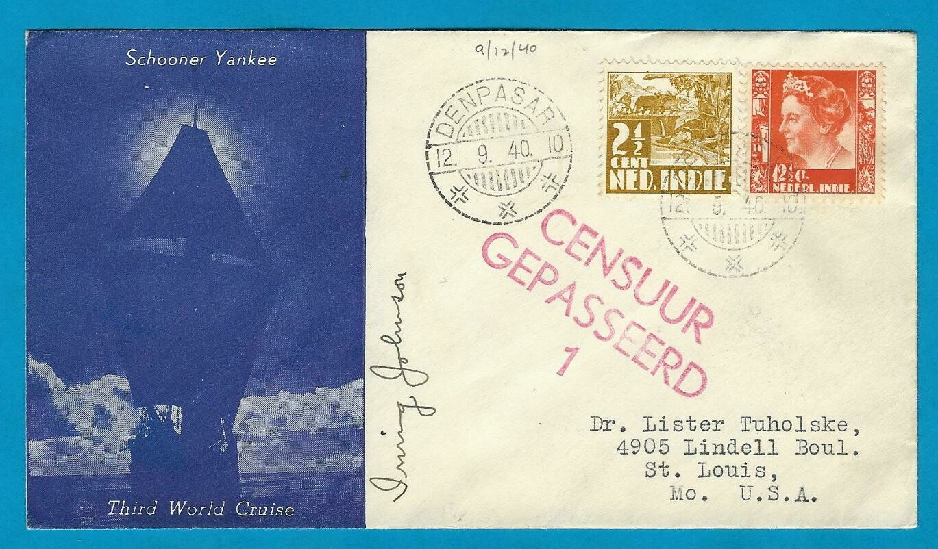 NETHERLANDS EAST INDIES censor cover 1940 Denpasar to USA