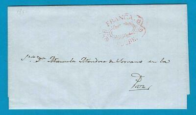 BOLIVIA entire 1844 Sucre to La Paz