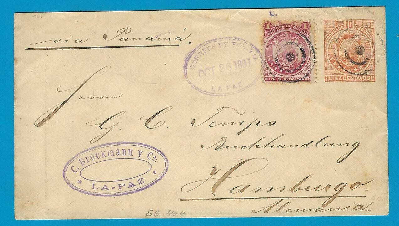 BOLIVIA uprated postal envelope 1891 La Paz to Germany