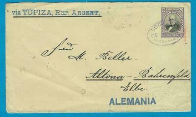 BOLIVIA postal envelope 1906 Cochabamba to Germany