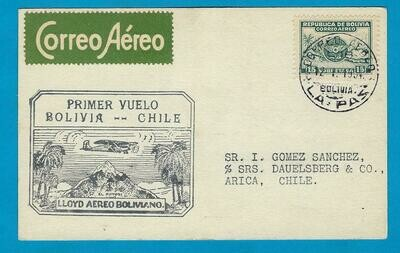 BOLIVIA airmail card 1934 La Paz 2 Chile by first flight Lloyd