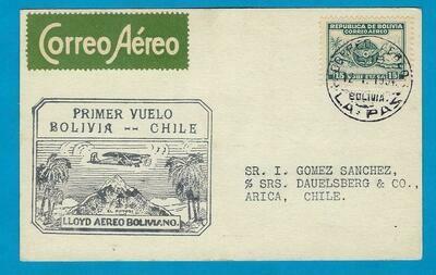 BOLIVIA airmail card 1934 La Paz 2 Chile by first flight Lloyd