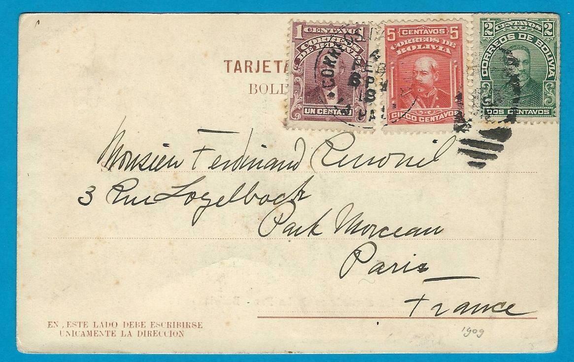 BOLIVIA PPC 1919 La Paz to France