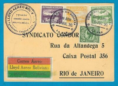 BOLIVIA air card 1930 La Paz to Brazil Lloyd Aereo