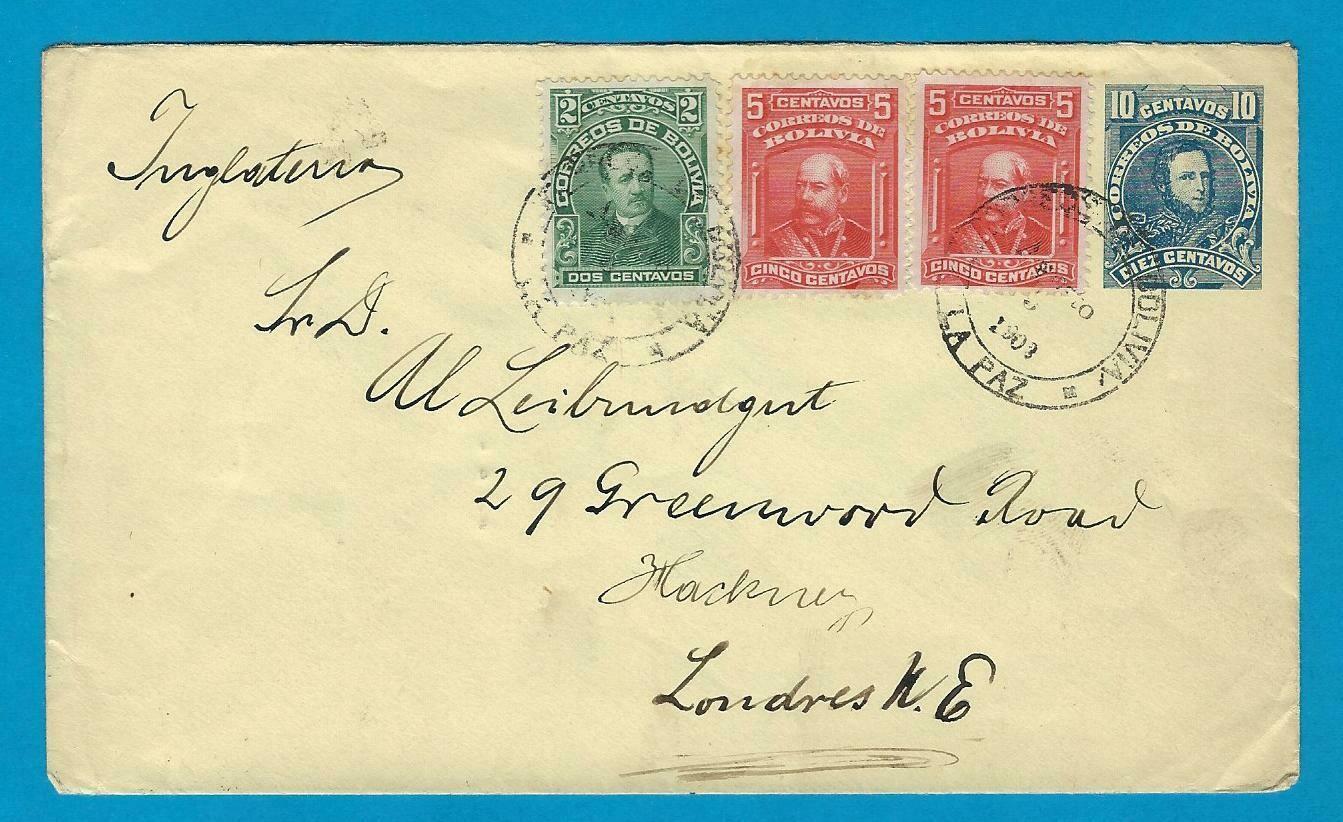 BOLIVIA uprated postal envelope 1902 La Paz to England