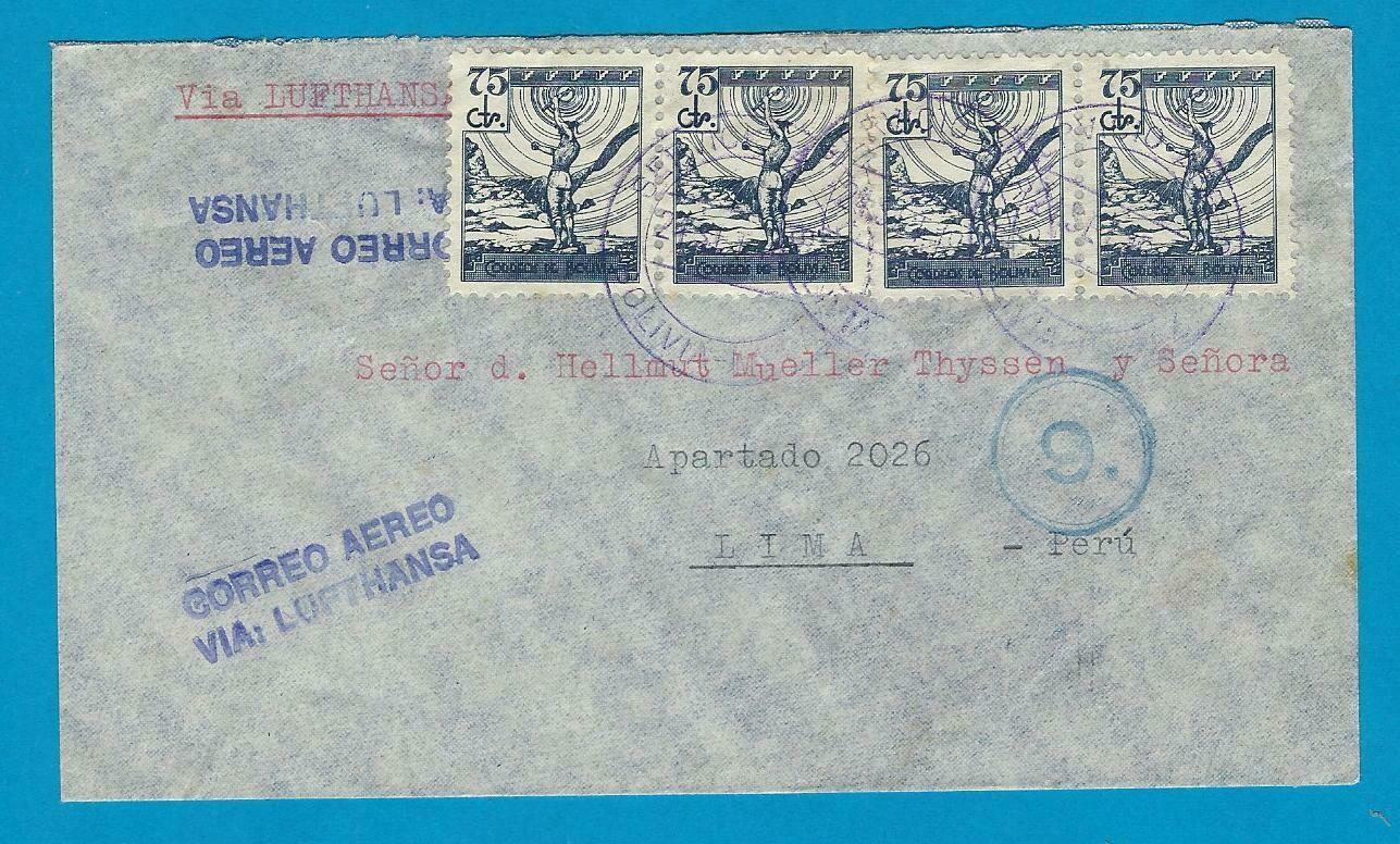 BOLIVIA air cover 1940 La Paz to Peru by Lufthansa