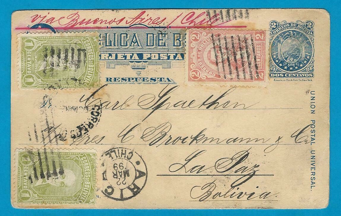 BOLIVIA Reply half 1899 over Argentina, Chile to La Paz