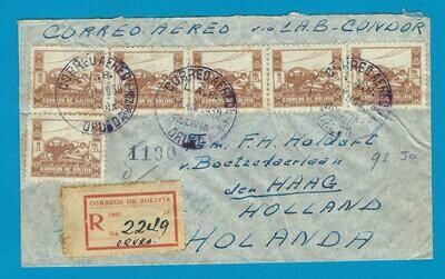 BOLIVIA R air cover 1938 Oruro to Netherlands