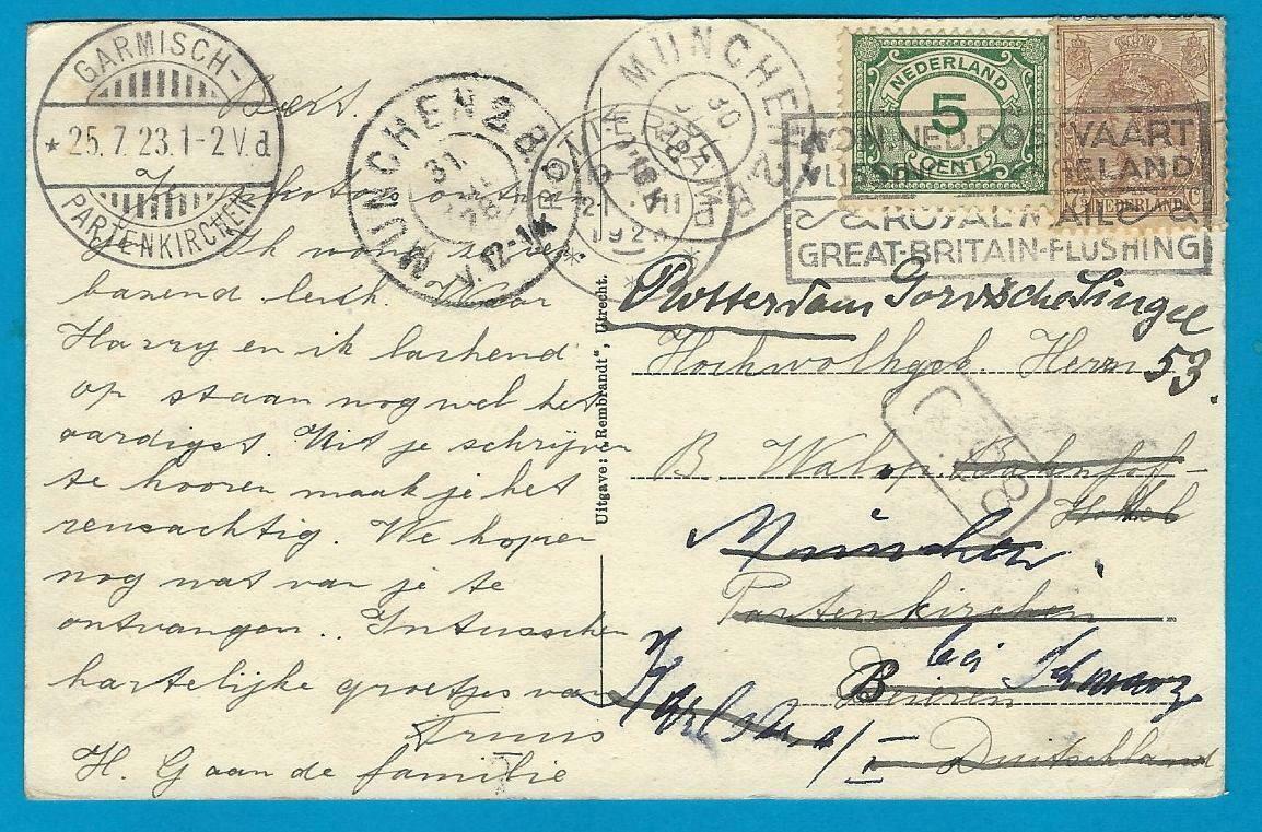 NEDERLAND prentbriefkaart Hillegersberg 1923 naar Duitsland en door