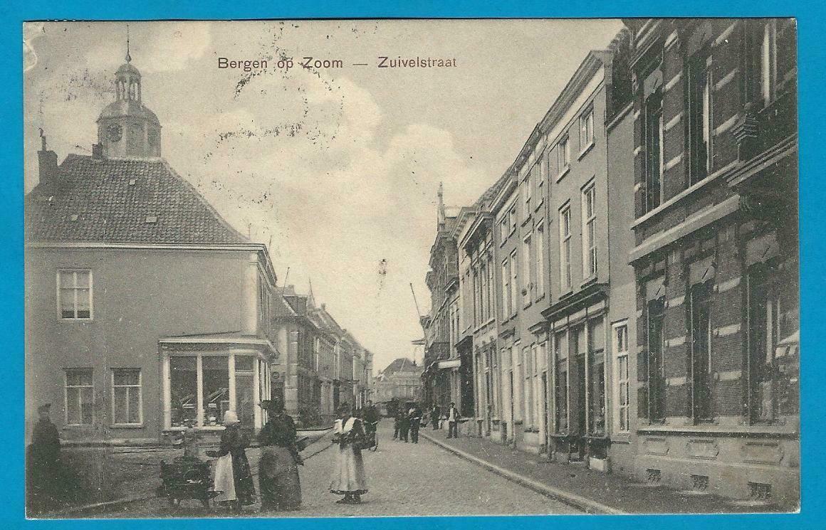 NEDERLAND prentbriefkaart 1910 Bergen op Zoom treinstempel