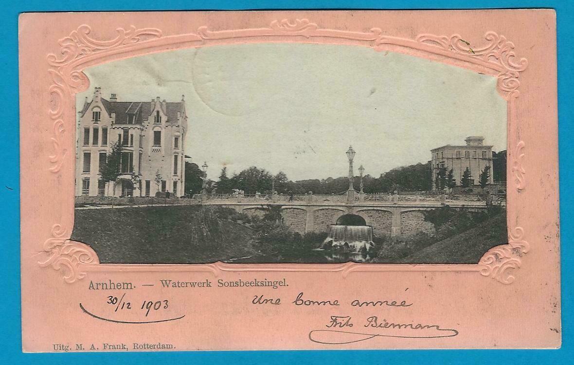 NEDERLAND prentbriefkaart 1903 Arnhem naar België