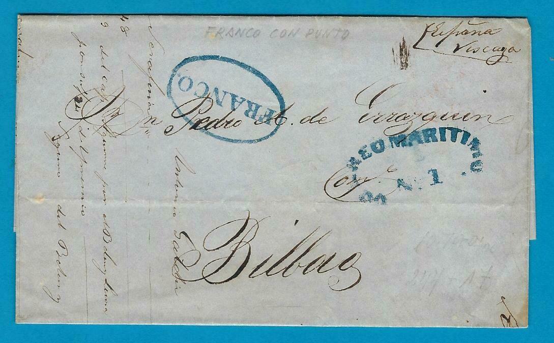 CUBA cover sheet 1849 Habana to Bilbao Spain