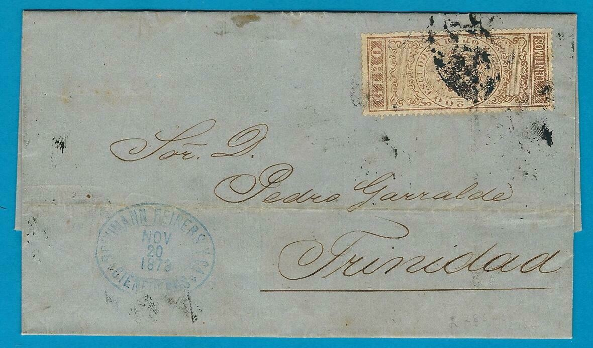 CUBA entire 1873 with bank revenue stamp to Trinidad