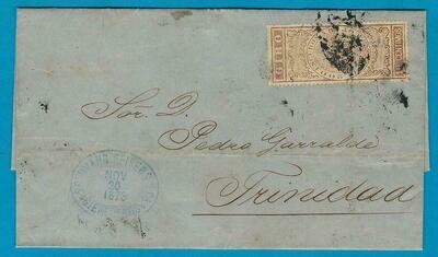 CUBA entire 1873 with bank revenue stamp to Trinidad