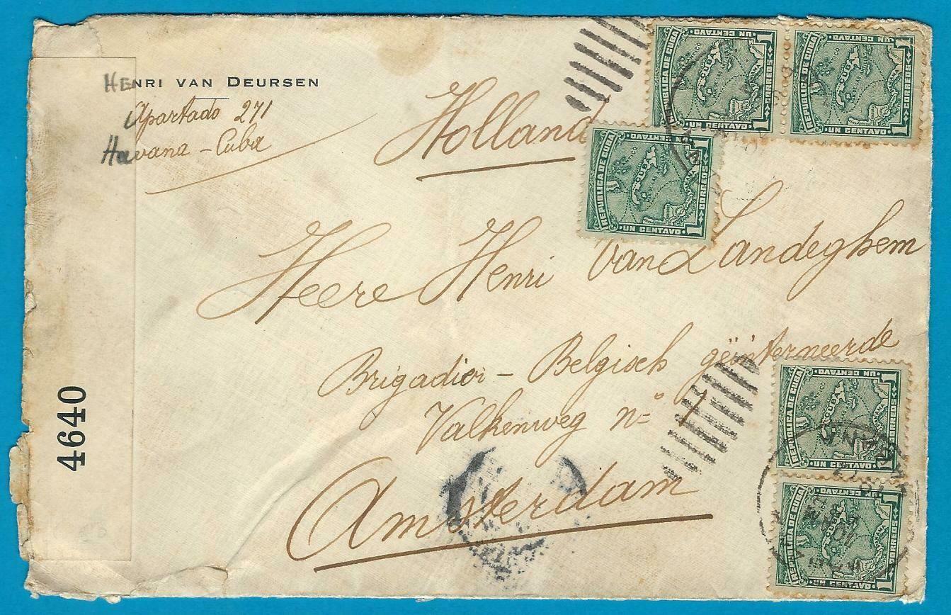 CUBA censor cover 1917 Habana to Amsterdam