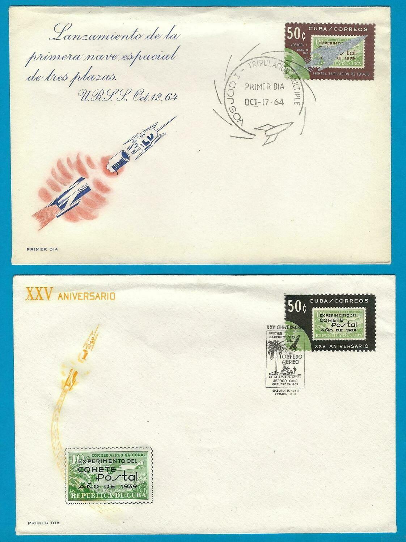 CUBA 2 space FDC's 1964 take off Vosjod I +25 y rocket mail