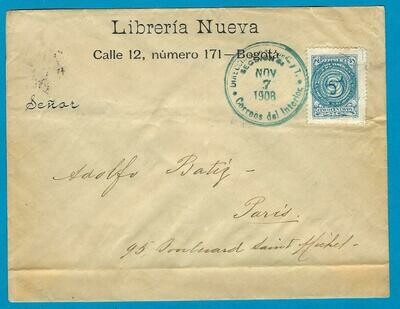 COLOMBIA cover 1908 Bogota to France