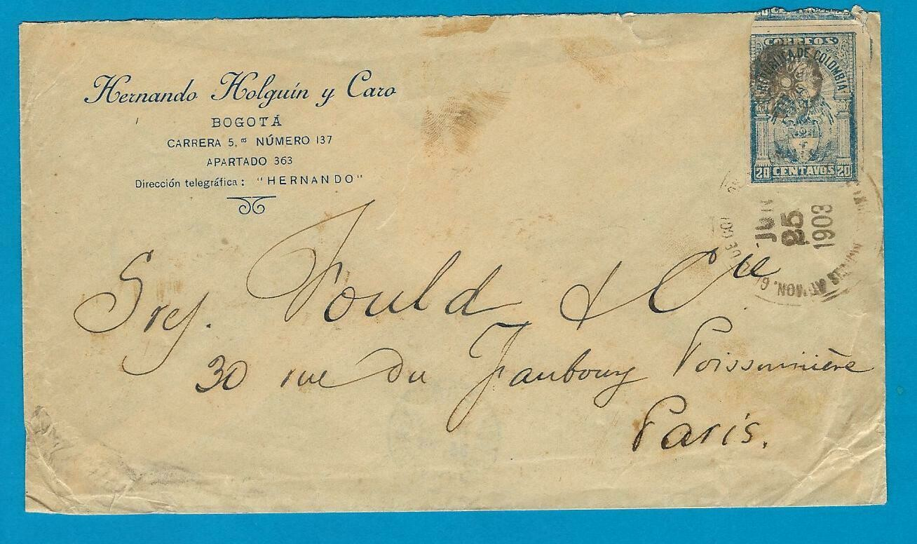 COLOMBIA cover 1903 Bogota to France