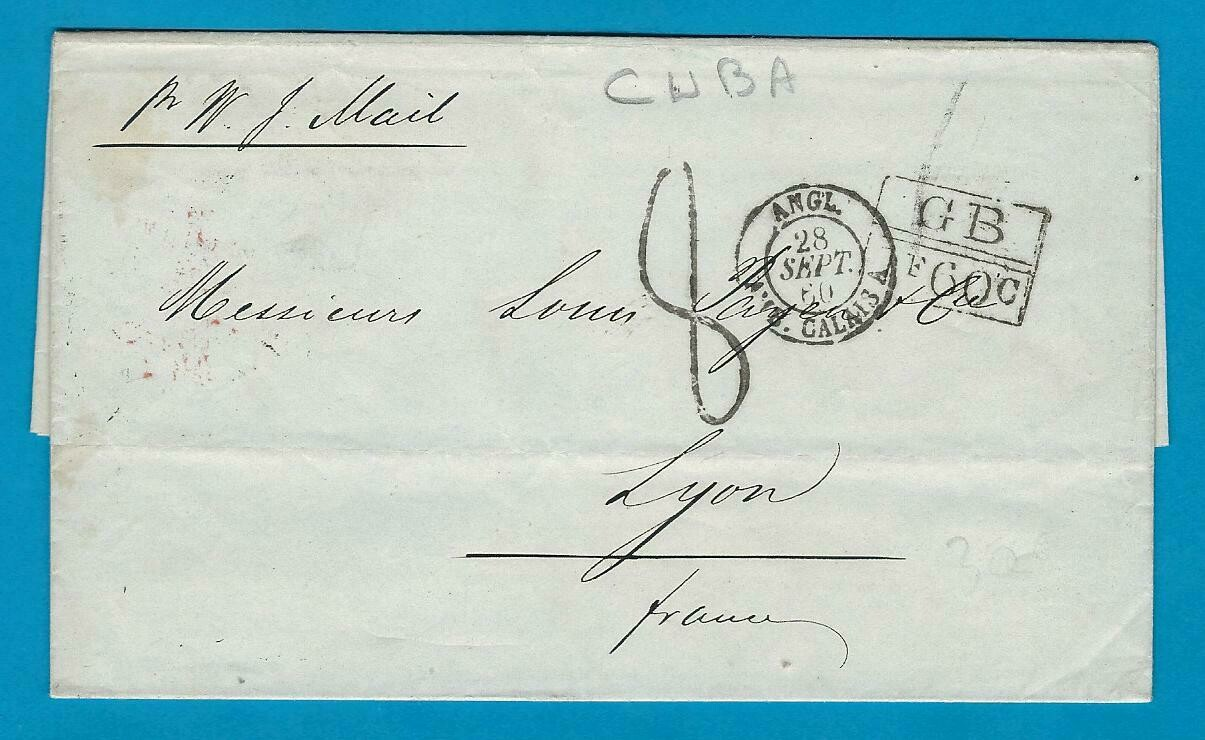 CUBA entire 1860 Havana by british packet to France