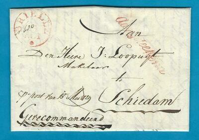 NEDERLAND aangetekende brief Brielle 1829 naar Schiedam