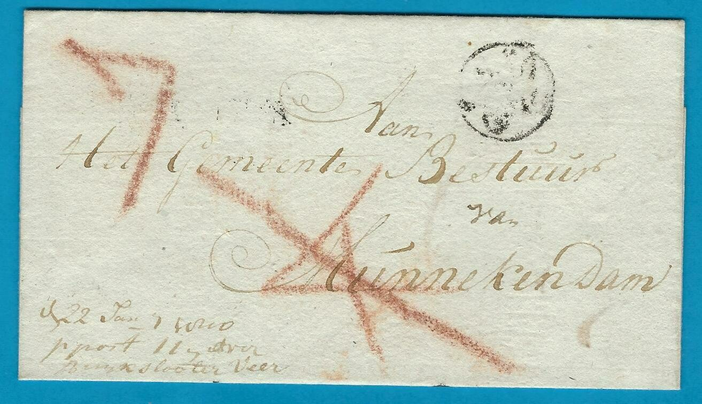 NEDERLAND vouwbrief 1810 Leiden over Buikslooter veer