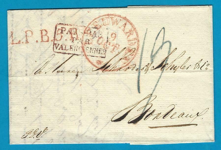 NEDERLAND vouwbrief 1829 Leeuwarden naar Bordeaux