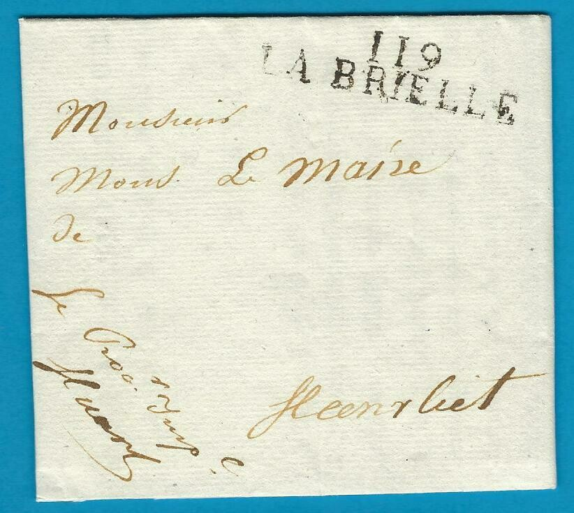NEDERLAND vouwbrief 1812 Brielle naar Heenvliet