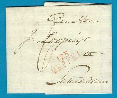 NEDERLAND vouwbrief 1821 Meppel naar Schiedam