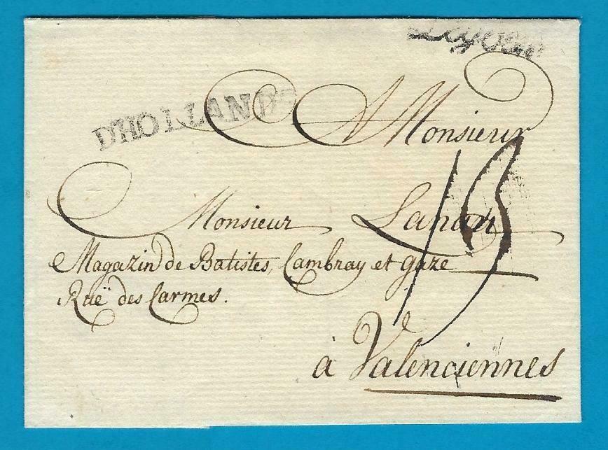 NEDERLAND vouwbrief 1791 Leiden naar Valenciennes
