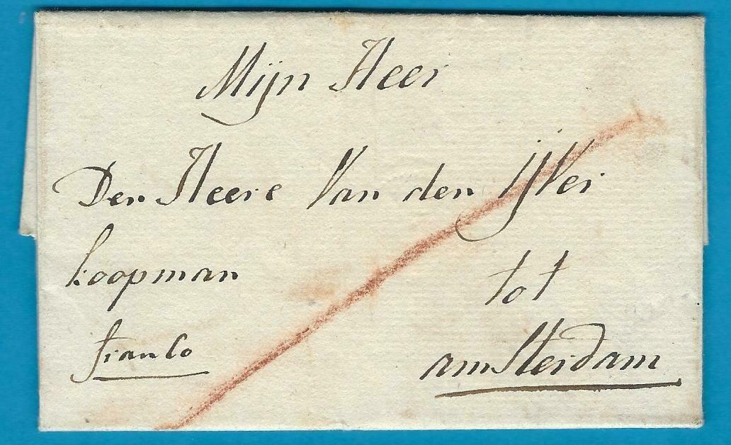 NEDERLAND vouwbrief 1792 Leiden naar Amsterdam