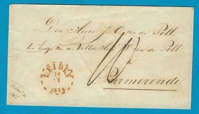 NEDERLAND brief 1851 Noordwijk naar Purmerend