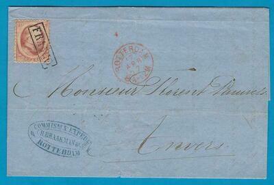 NEDERLAND omslag 1867 Rotterdam naar Antwerpen