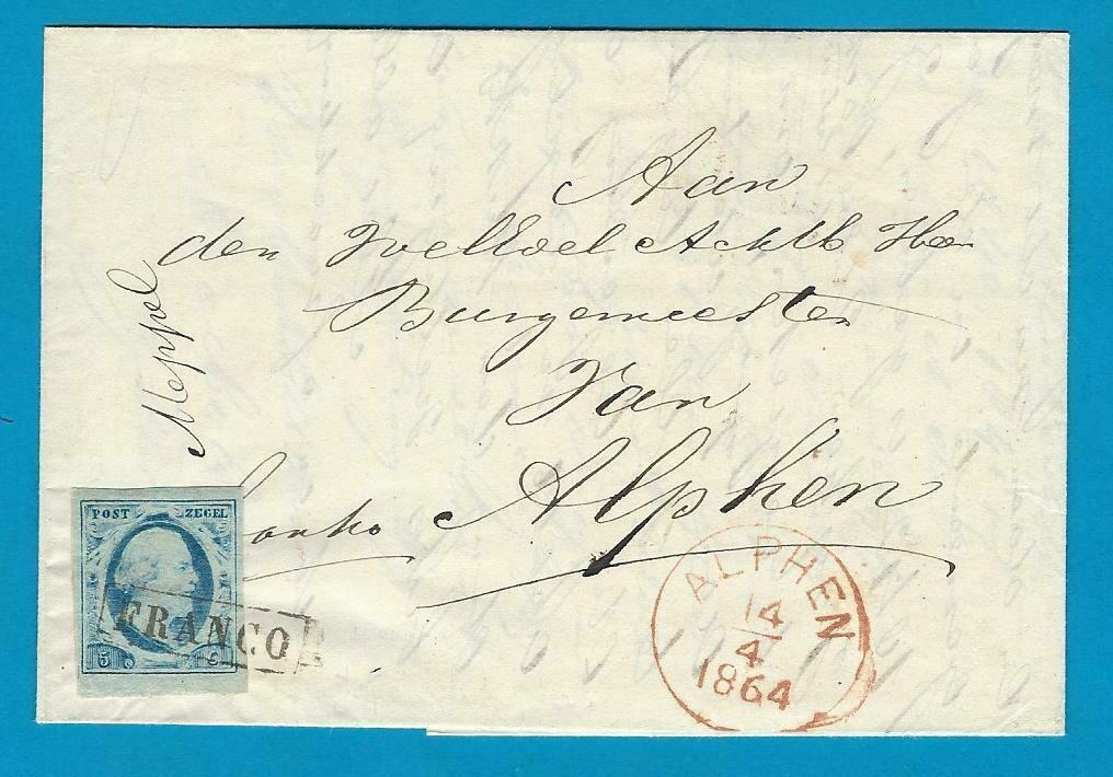 NEDERLAND vouwbrief 1864 Bodegraven naar Alphen
