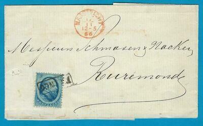 NEDERLAND omslag 1866 Maastricht proefstempel