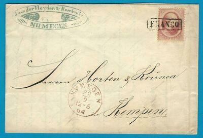 NEDERLAND omslag 1864 Nijmegen naar Duitsland