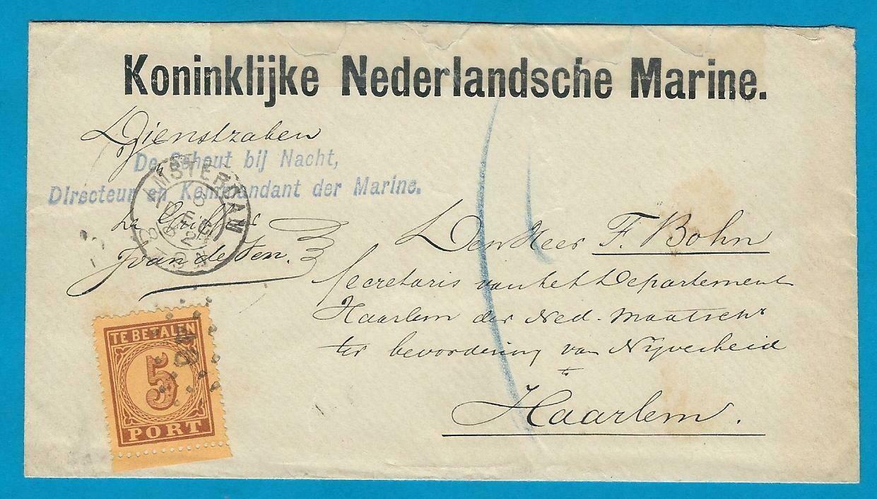 NEDERLAND dienstbrief 1882 Amsterdam Kon. Marine port belast