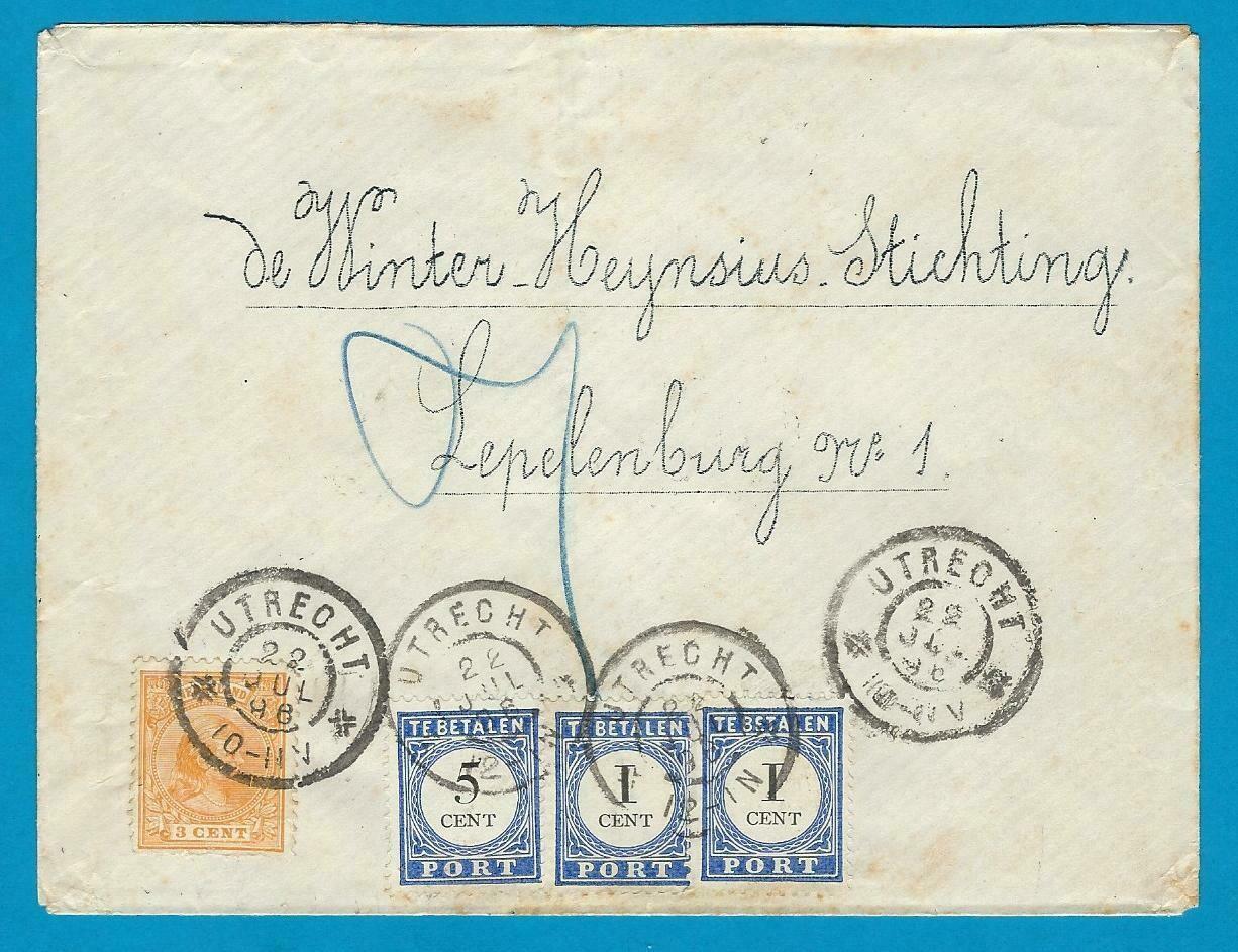NEDERLAND lokale brief 1896 Utrecht met port belast (2e gewicht)