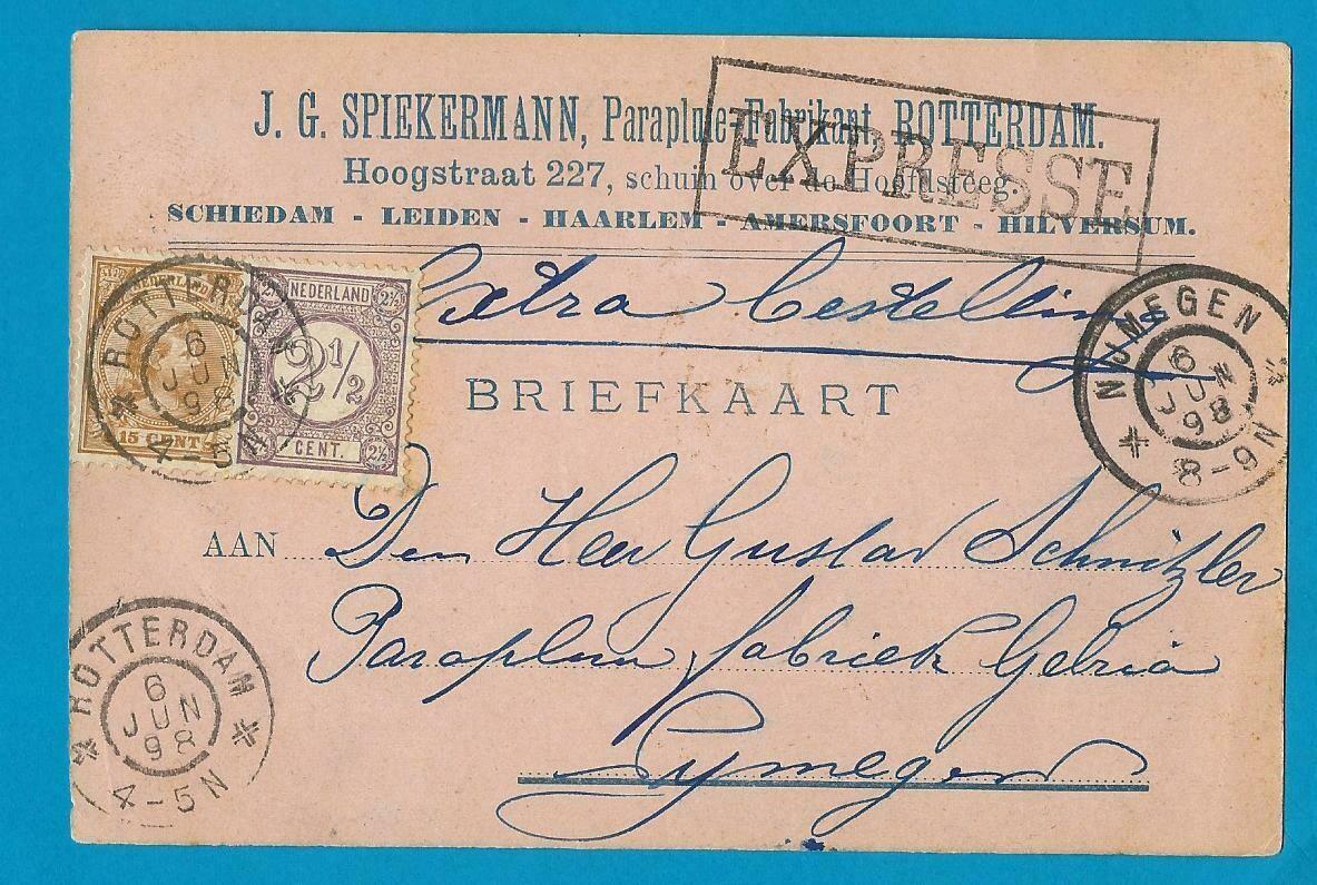 NEDERLAND expresse briefkaart 1898 Rotterdam naar Nijmegen