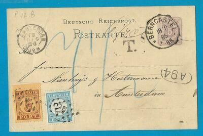 DUITSLAND briefkaart 1886 Berncastel met port belast Amsterdam