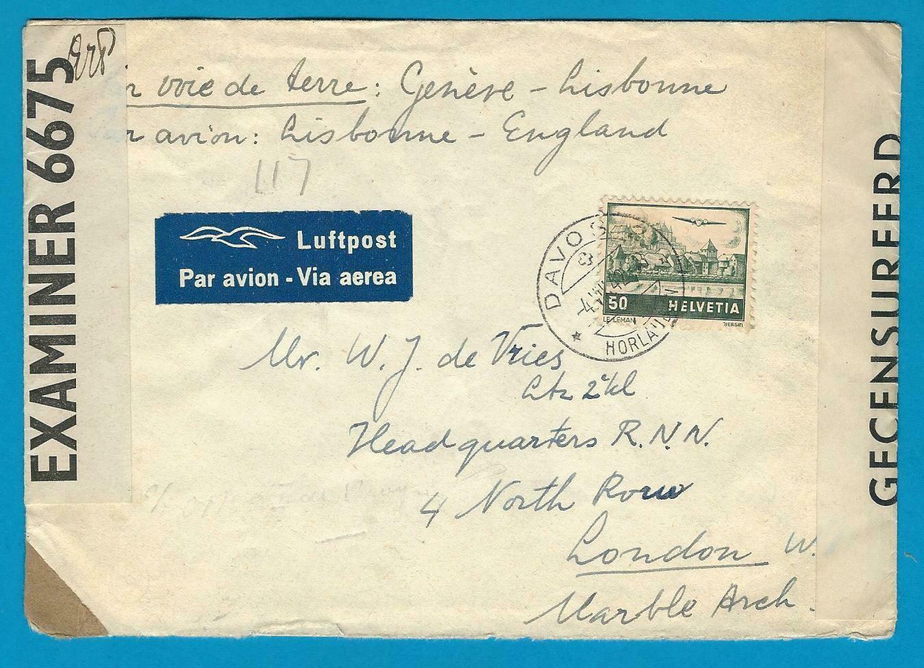 ZWITSERLAND censuur brief 1942 Davos naar Royal Netherlands Navy