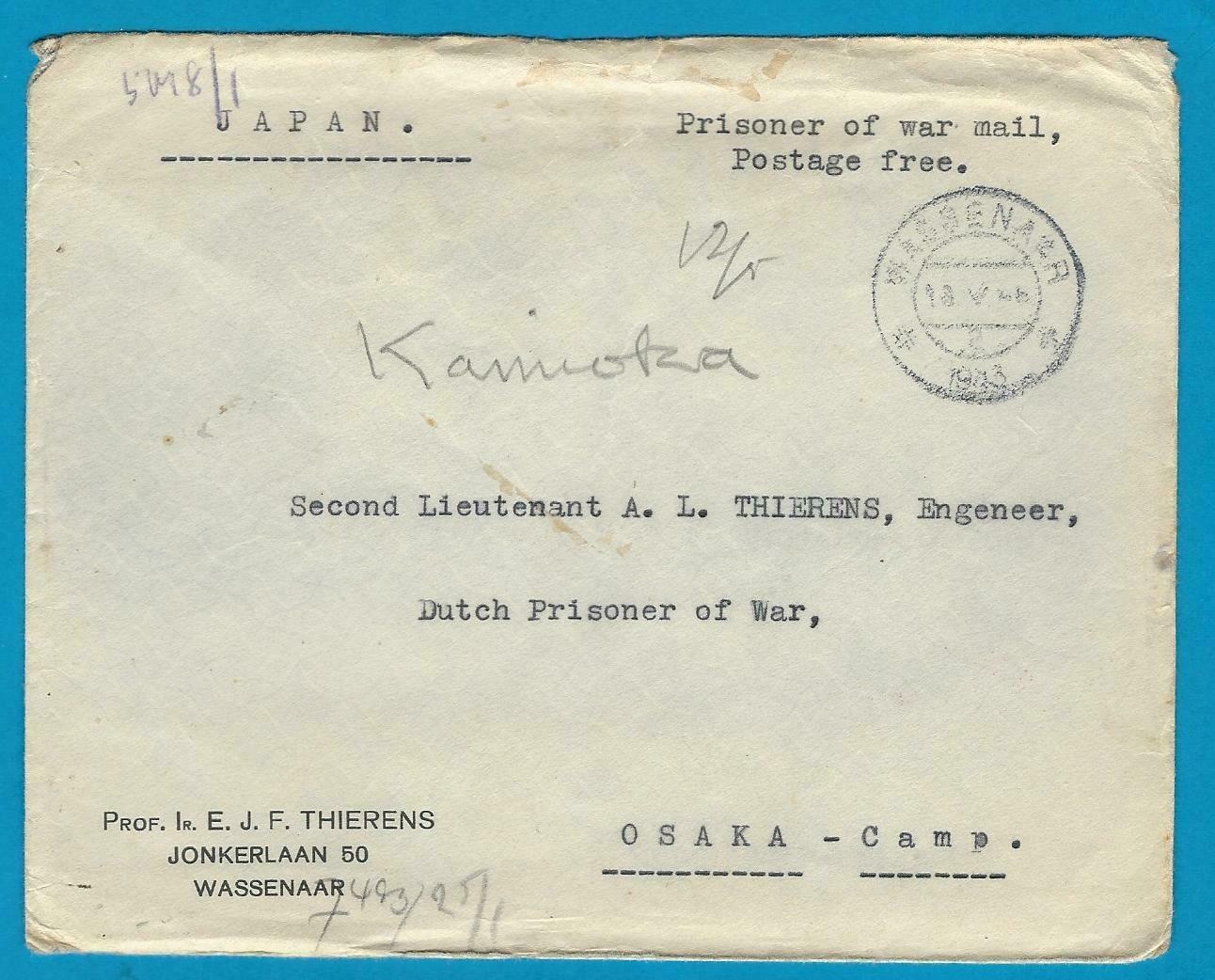 NEDERLAND censuur brief 1943 Wassenaar naar PoW in Japan